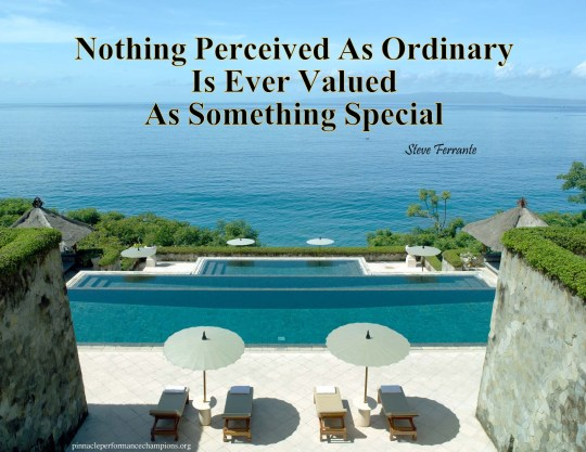 Nothing Perceived As Ordinary Is Ever Valued As Something Special